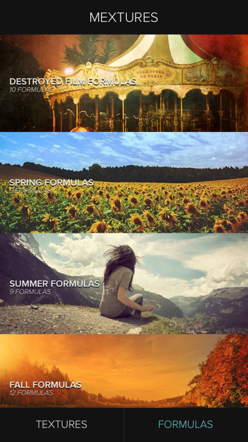 Selecting a Mextures formula category.