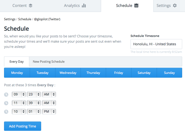 Selecting posting times in Buffer allows for a lot of customization.
